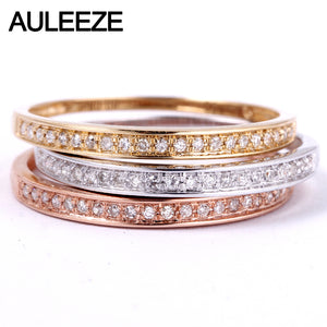 AULEEZE Classic Solid 18K Gold Real Diamond Wedding Band 750 White Gold Anniversary Rings For Women Ladies Ring Fine Jewelry - Jewelrygem