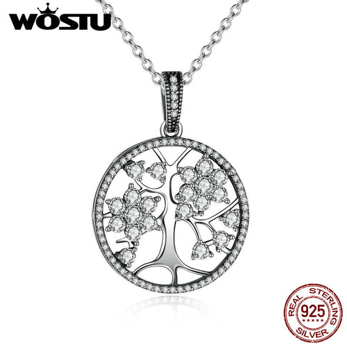 100% Real 925 Sterling Silver Family Tree Pendant Necklaces For Women Fine Jewelry Gift - Jewelrygem