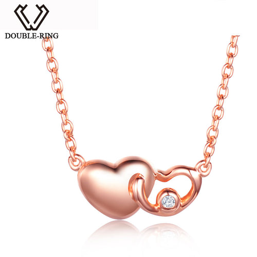 DOUBLE-R Heart Necklaces Women 0.01ct Diamond 925 Sterling Silver Outside 18 K Rose Gold Pendant Valentine'S Day Brand Jewelry - Jewelrygem