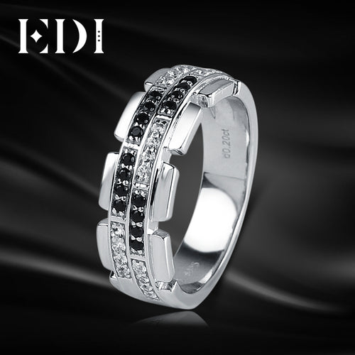EDI Luxury Natural Diamond 14K 585 White Gold Wedding Ring For Men Real Diamond Bands Jewelry Gentleman Christmas Gift - Jewelrygem