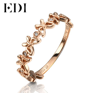 EDI Romantic 18K Rose Gold Bands Real 0.03cttw Natural Diamond H/SI Butterfly Shape Wedding Ring For Women Fine Jewelry - Jewelrygem