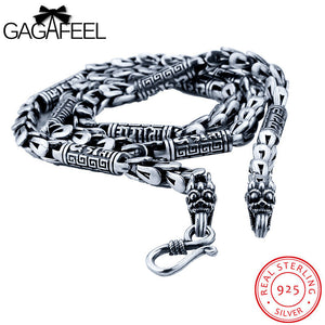 GAGAFEEL Long Dragonscale Necklace Vintage 925 Sterling-Silver-Jewelry Dragon Head Animal Chains S Clasp Solid Fit Men Pendant - Jewelrygem