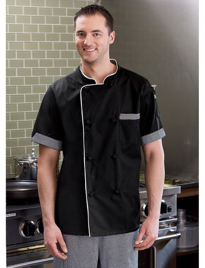 Five Star Chef Apparel Mens Short Sleeve Executive Chef Coat