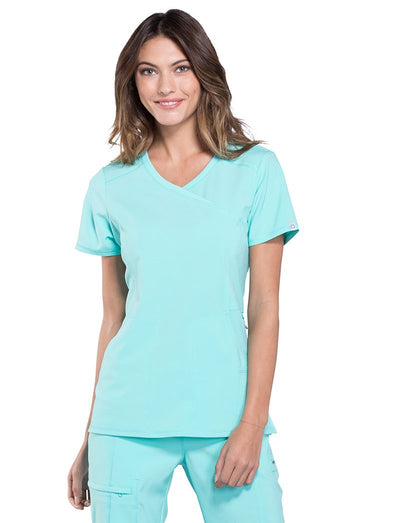 Cherokee Infinity Antimicrobial Mock Wrap Scrub Top