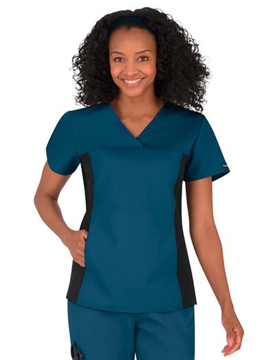 Cherokee Flexibles V-Neck Scrub Top with Knit Panel