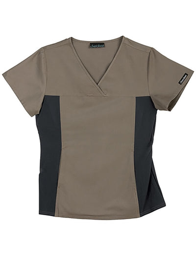 Cherokee Flexibles Clearance V-Neck Scrub Top with Knit Panel
