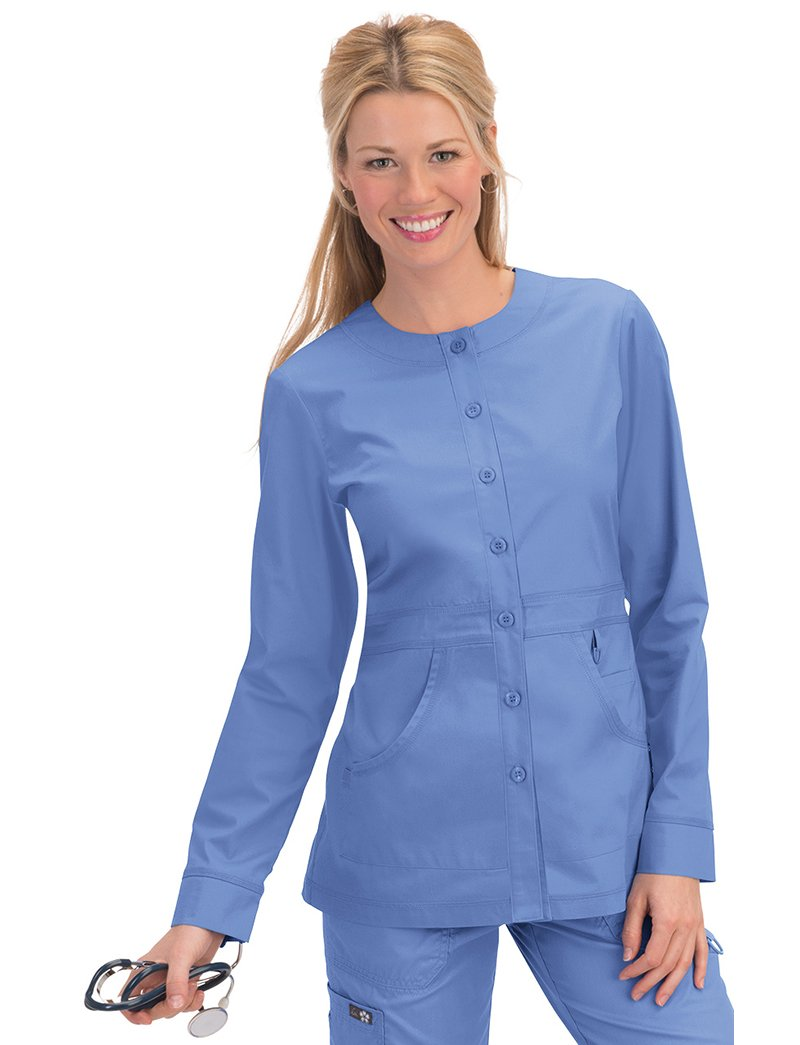 Koi Olivia Round Neck Button Front Scrub Jacket