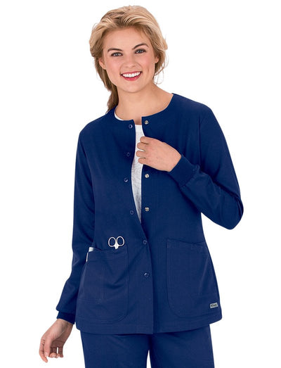 Grey's Anatomy 4-Pocket Round Neck Scrub Jacket