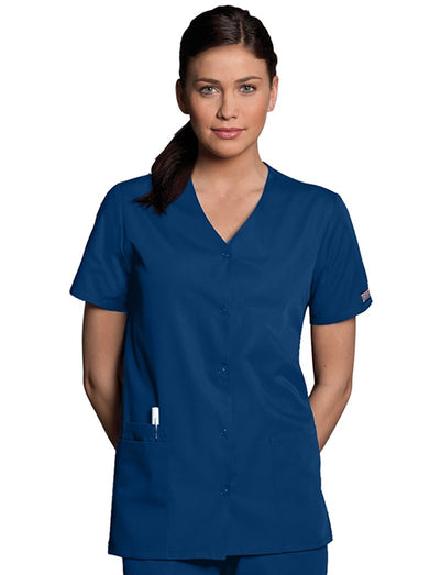 Cherokee Workwear Originals Snap Front V-Neck Scrub Top