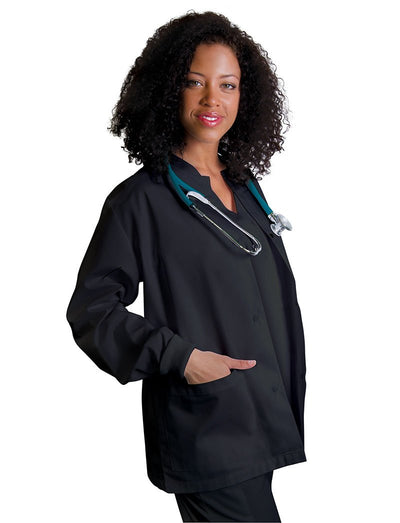 Adar Universal Round Neck Warm-Up Scrub Jacket