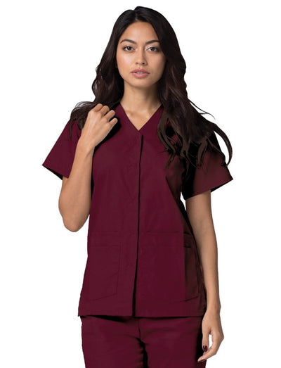 Adar Double Pocket Snap Front Scrub Top