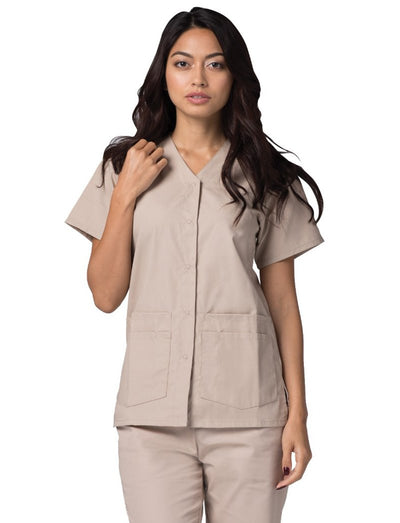 Adar Universal Double Pocket Snap Front Scrub Top