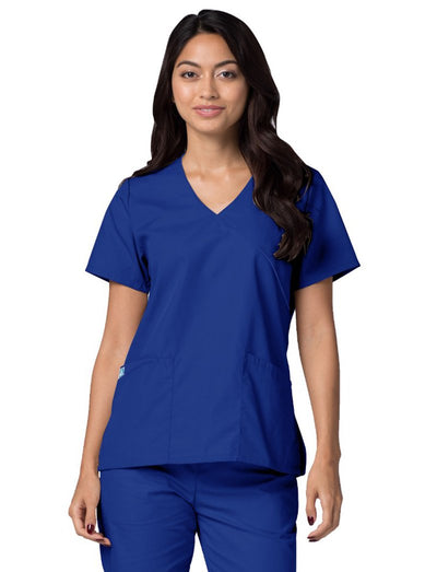 Adar Universal Solid Trim Mock Wrap Scrub Top