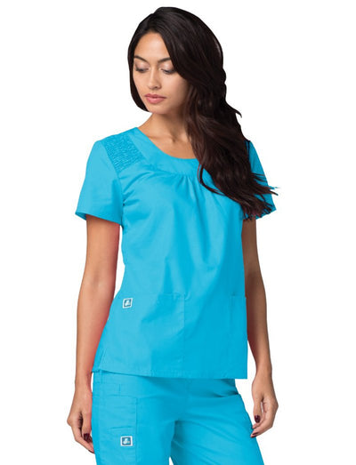 Adar Universal Scoop Neck Smocked Scrub Top