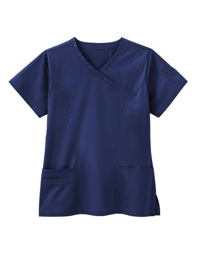 BIO Stretch Modern Mock Wrap Scrub Top