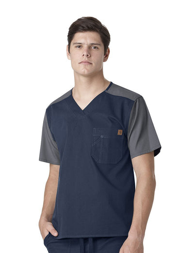 Carhartt Mens Ripstop Color Block Scrub Top
