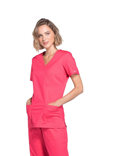 Cherokee Workwear Core Stretch Mock Wrap Scrub Top