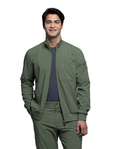 Cherokee Infinity Mens Antimicrobial Zip Front Scrub Jacket