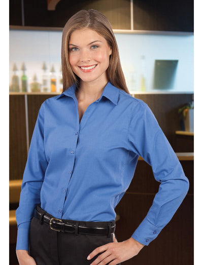 Edwards Ladies Open Neck Poplin Long Sleeve Blouse
