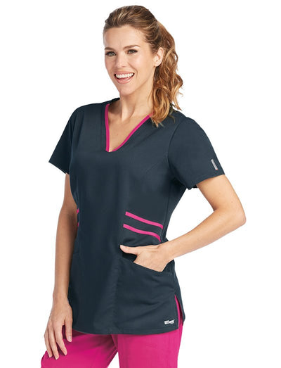Grey's Anatomy Clearance Active Color Block Marquis Style Scrub Top