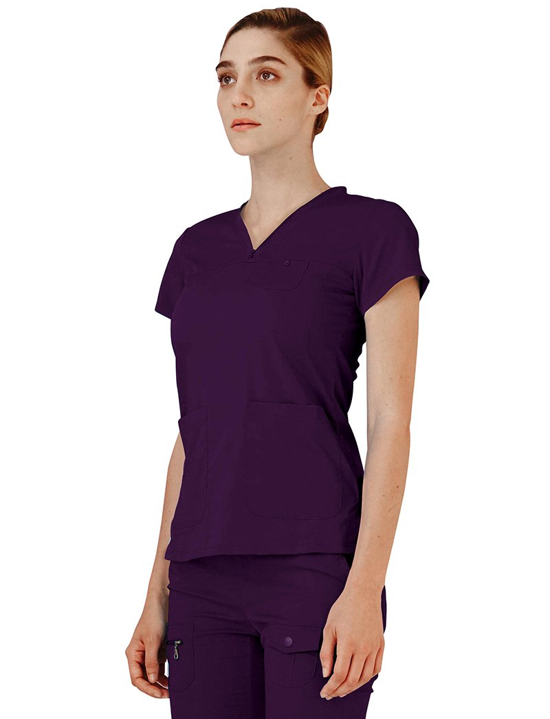 Adar Indulgence Stitched Curved V-Neck Scrub Top