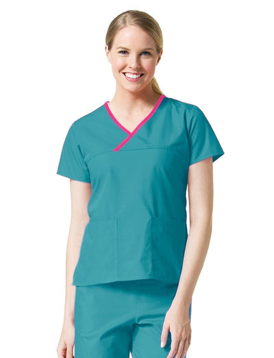 Maevn Core Contrast Trim Y-Neck Scrub Top