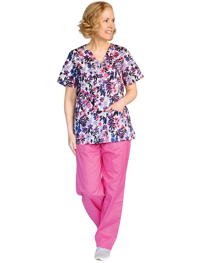 Tafford Prints Berry Bunch 2 Pocket Print Scrub Top