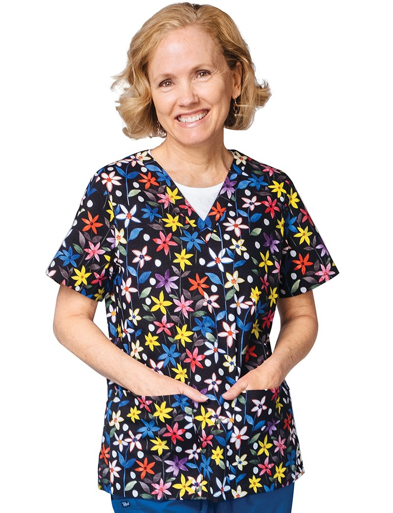 Tafford Prints Bright Future 2 Pocket Print Scrub Top