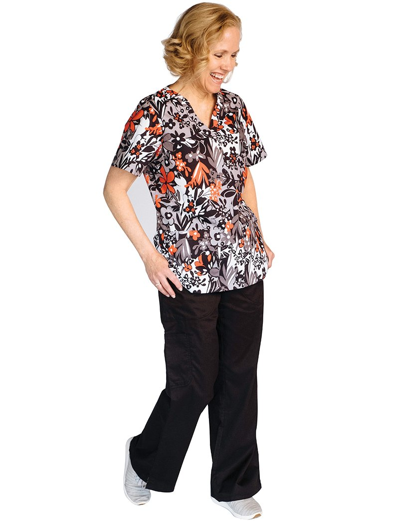 Tafford Prints Red It 2 Pocket Print Scrub Top
