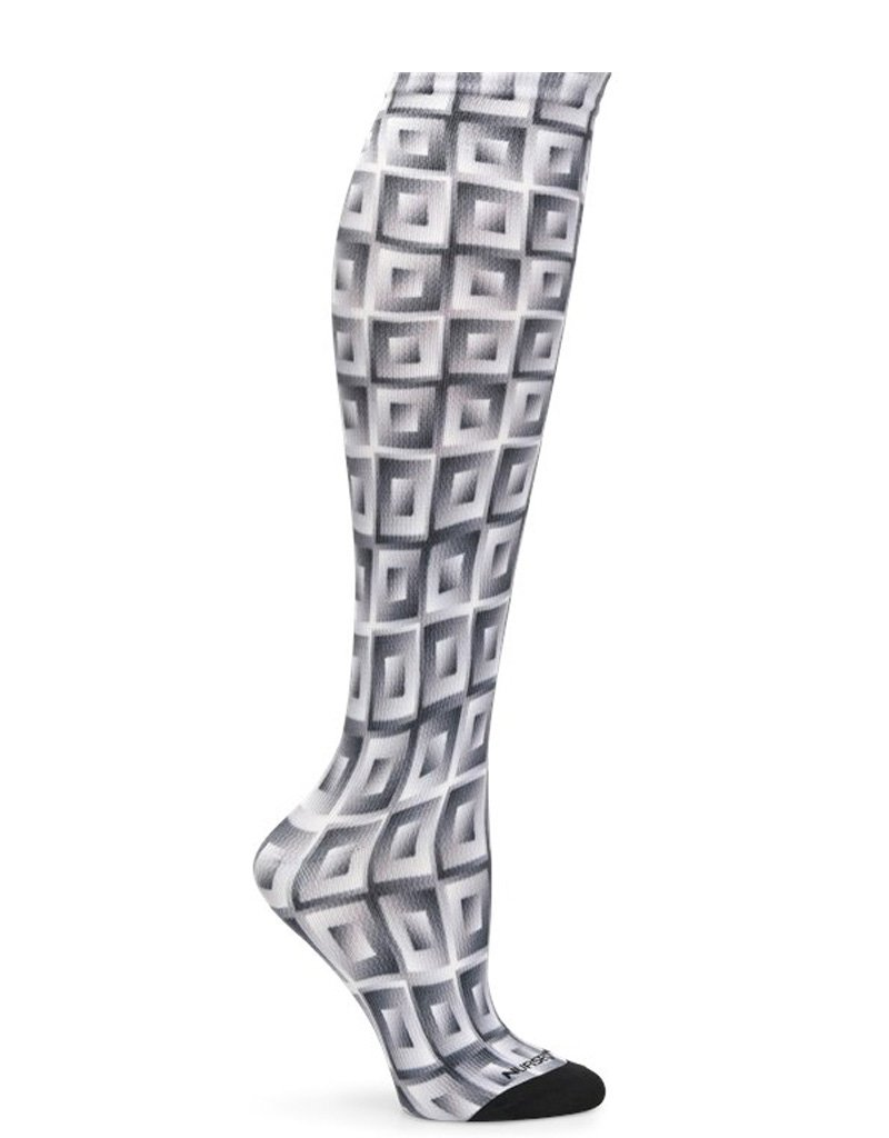 Nurse Mates Grey Cubes 360 Compression Socks