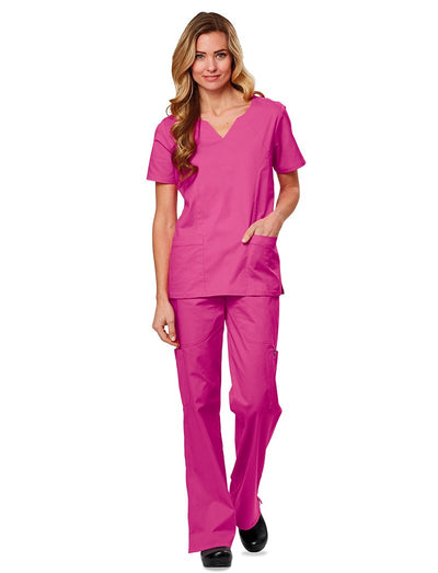 Tafford Essentials Stretch Notch Neck Scrub Top