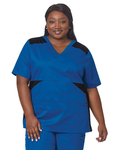 Tafford Plus Size Color Block Scrub Top