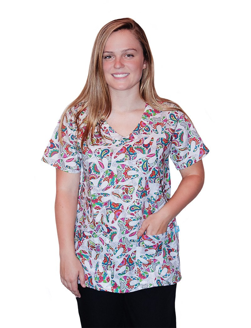 Mad About Mouths Happy Teeth White 2 Pocket Print Scrub Top