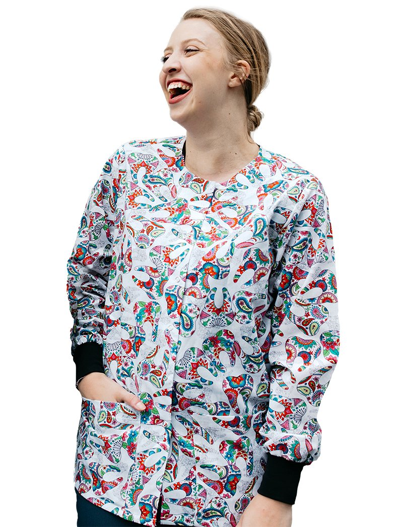 Mad About Mouths Happy Teeth White Crew Neck Print Jacket