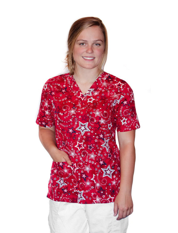 Tafford Prints Patriotic Pride Red 2 Pocket Print Scrub