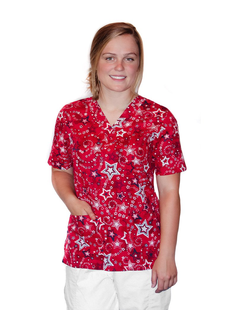 Tafford Prints Patriotic Pride Red 2 Pocket Print Scrub Top