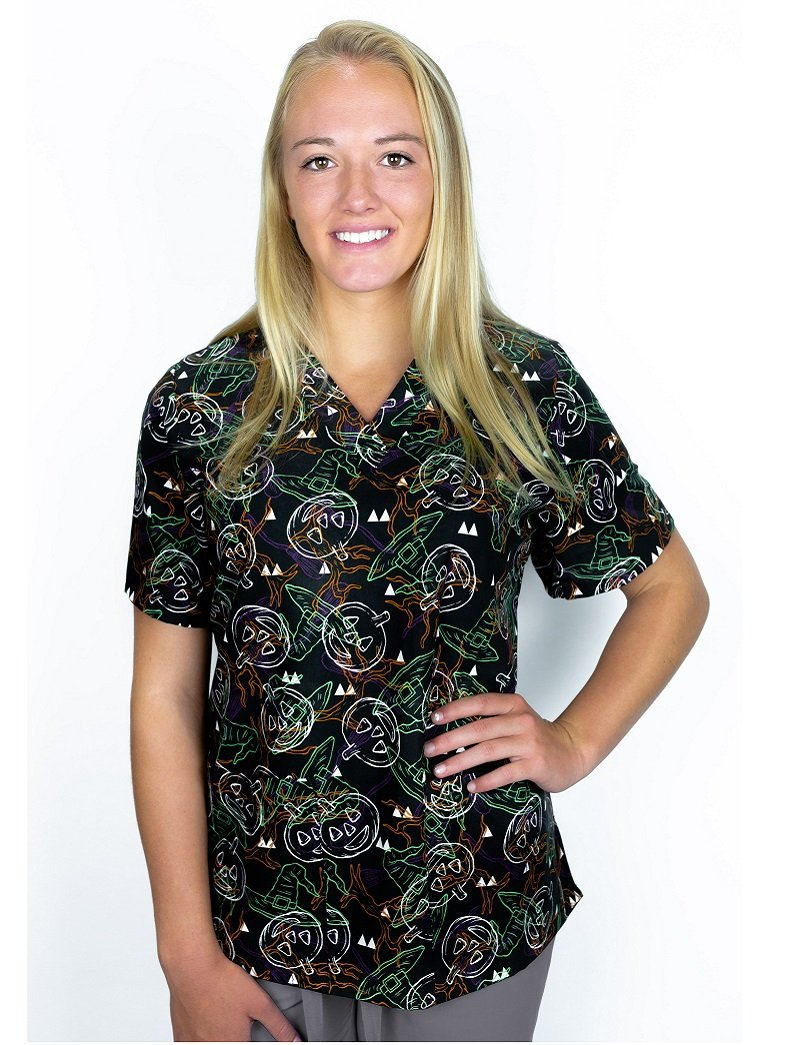 Tafford Prints In The Dark-Multi 2-Pocket Scrub Top