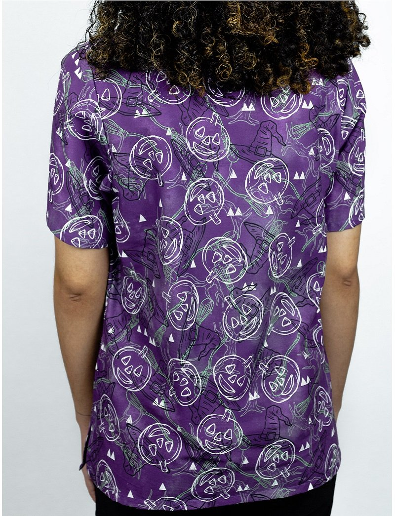 Tafford Prints In The Dark-Purple 2-Pocket Scrub Top