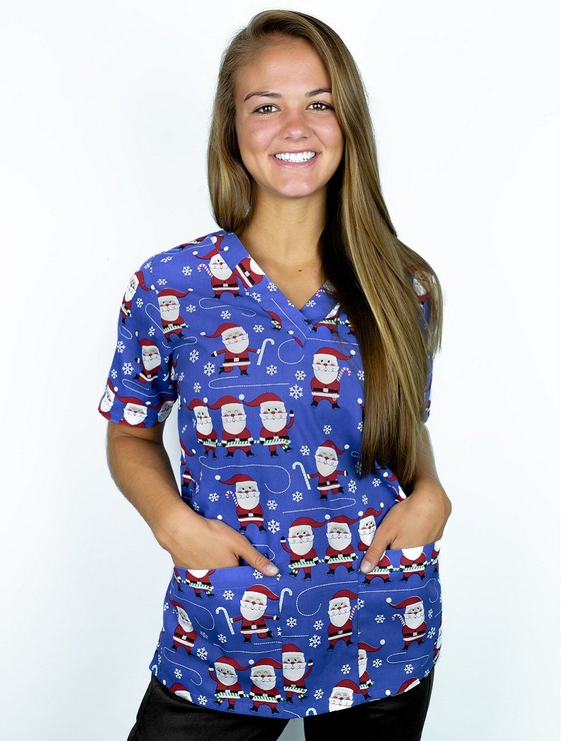 Tafford Prints Blissful Santa 2-Pocket Scrub Top