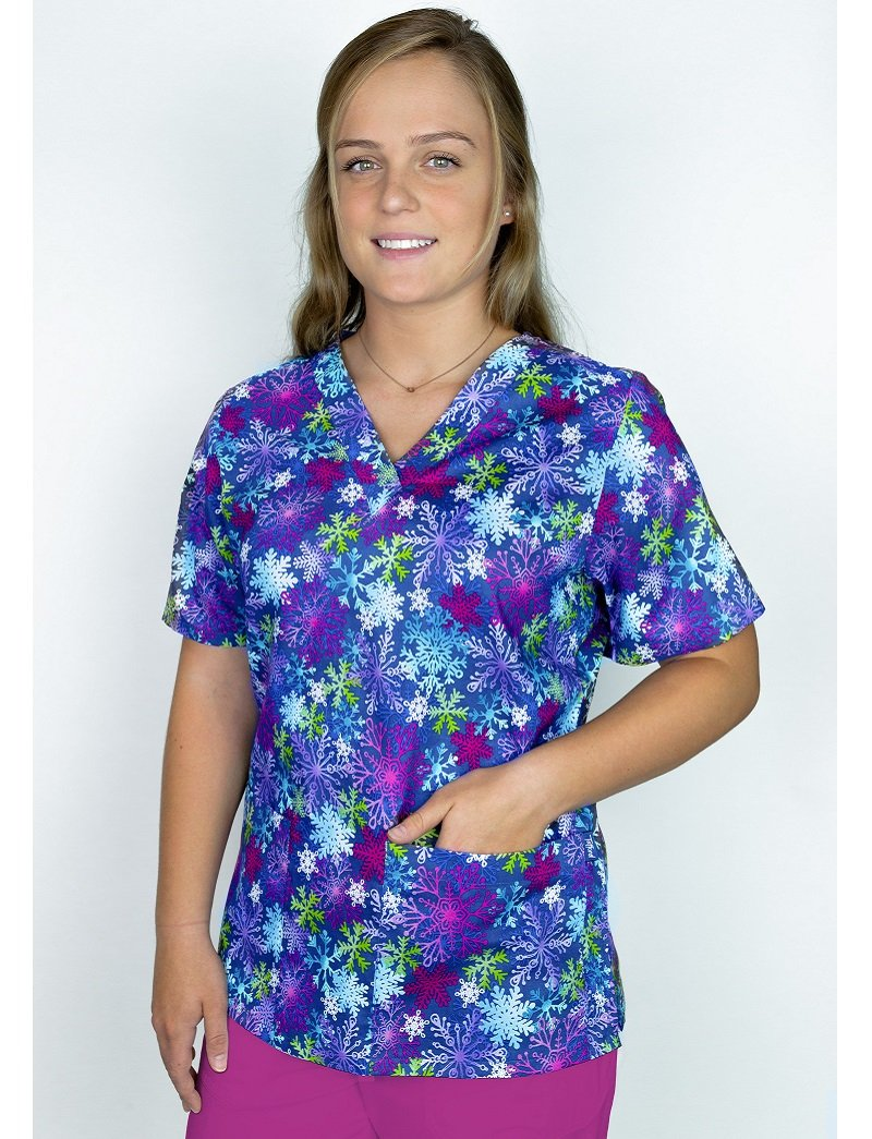 Tafford Prints Snow Crystal 2-Pocket Scrub Top