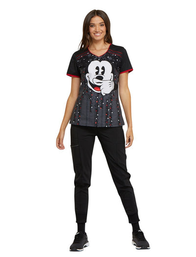 Cherokee Tooniforms Disney Mickey Moustache Scrub Top