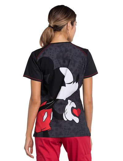 Cherokee Tooniforms Better Halves Disney Mickey Mouse Scrub Top