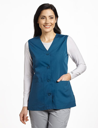 White Cross Button Front Vest