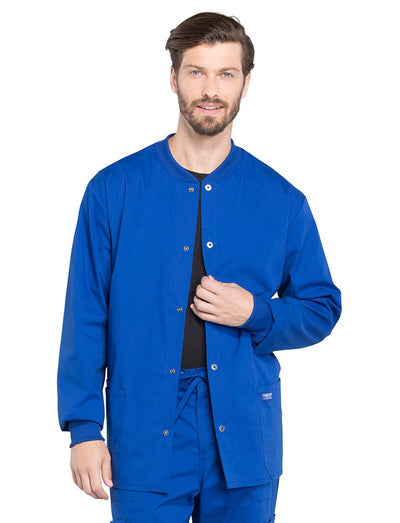 Cherokee Workwear Professionals Mens Snap Front Warm-Up Scrub Jacket