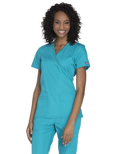 Cherokee Workwear Originals  Mock Wrap Scrub Top