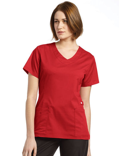 White Cross Allure Curved V-Neck Scrub Top