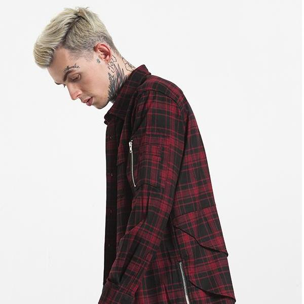 Long Sleeve Zipper Plaid Flannel