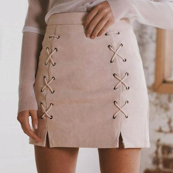 Vegan Suede Lace Up Pencil Skirt