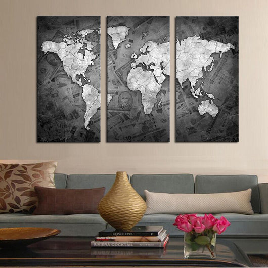 3 pieces world map canvas painting rilloor malaysia 3 pieces world map canvas set rilloor freerunsca Images