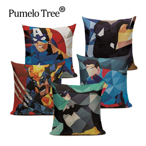 Super Heros Pillow Throw 45Cmx45Cm Square Bedside 1 Side Printing Cushion Cover